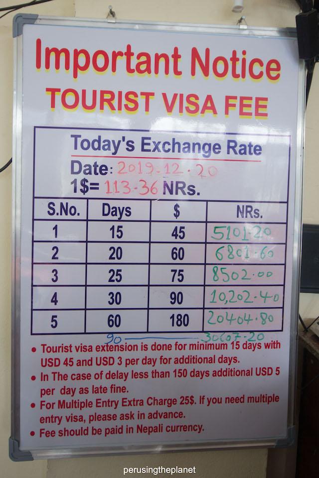 visa extension fee nepal