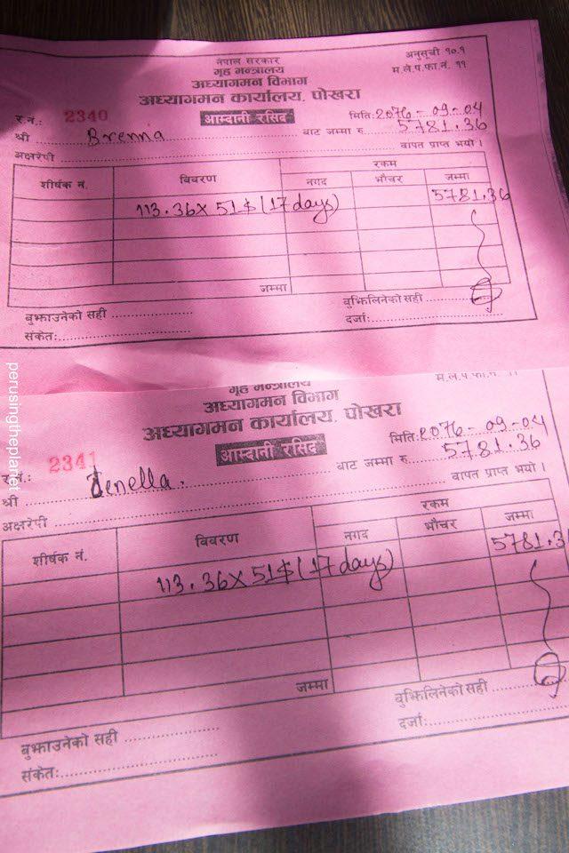 receipt of visa extension pokhara nepal