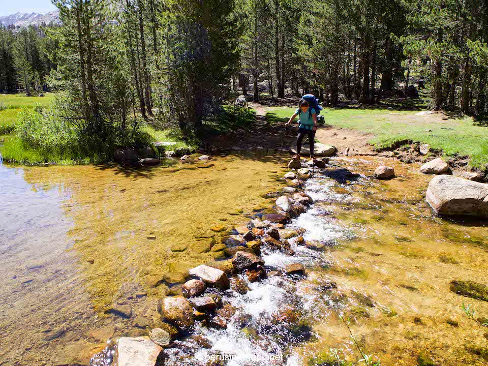 crossing streams on the pacific crest trail