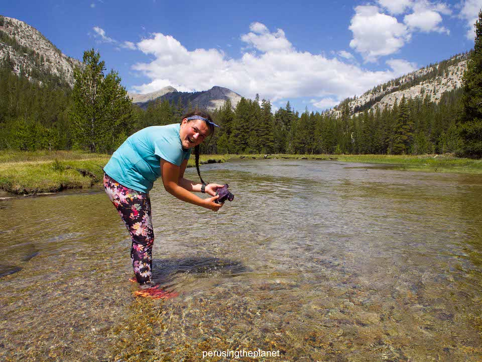 washing socks in a river, pacific crest trail