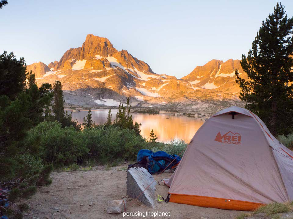 our tent pitch at thousand island lake camping pct