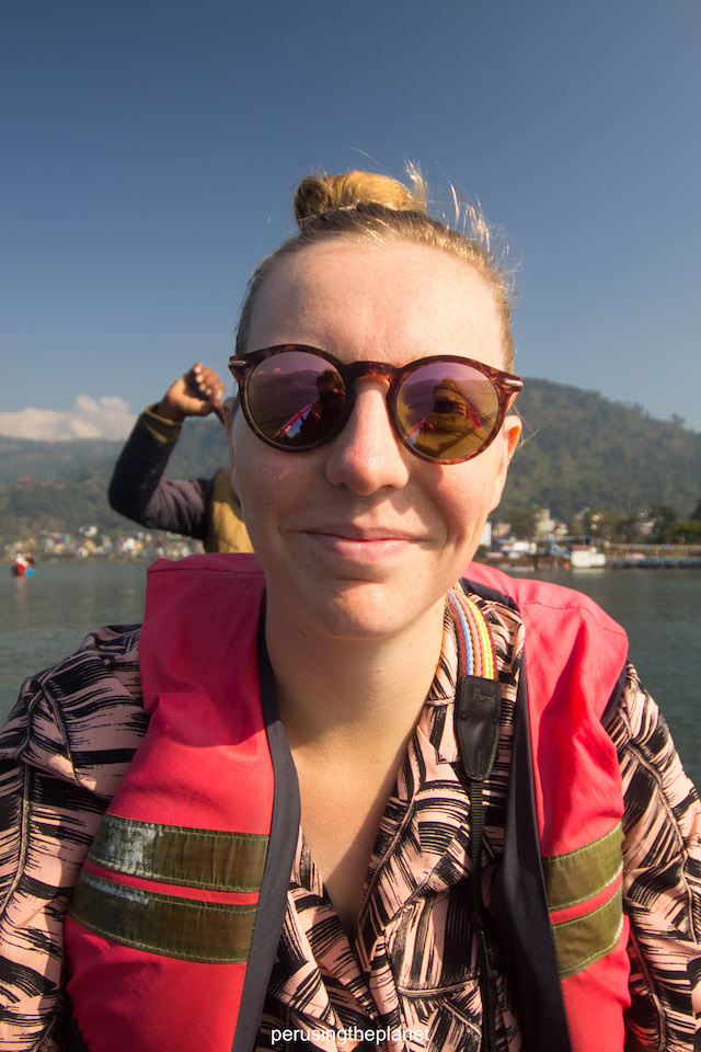getting the boat to pokhara peace pagoda