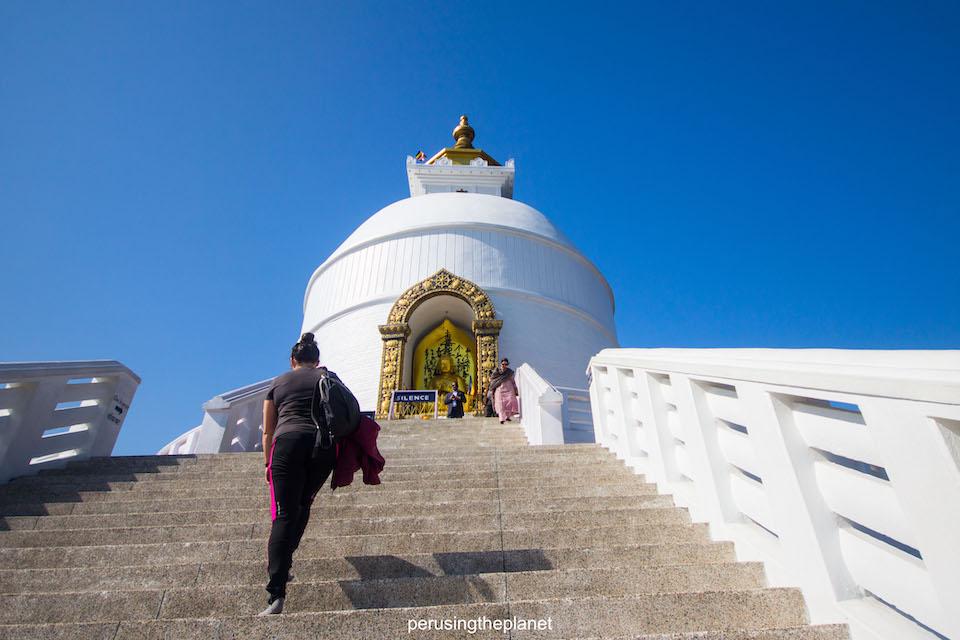 walking up to pokhara peace pagoda