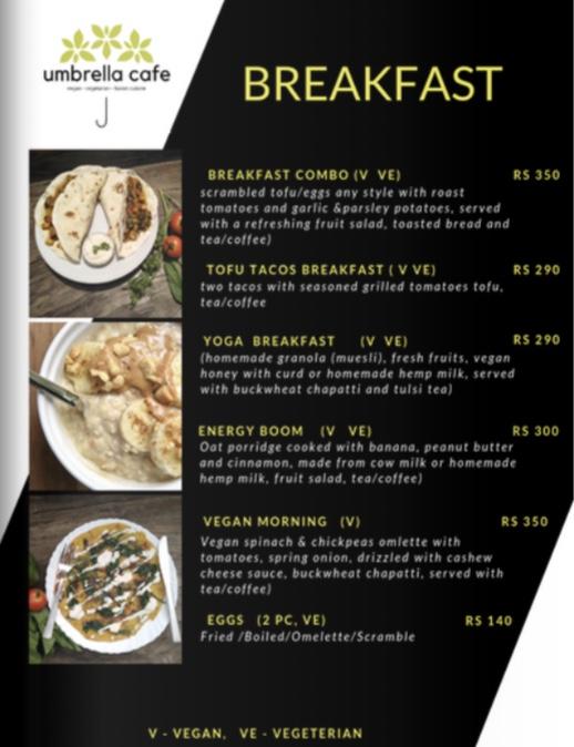 umbrella cafe breakfast menu pokhara