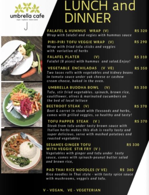 umbrella cafe pokhara lunch and dinner menu