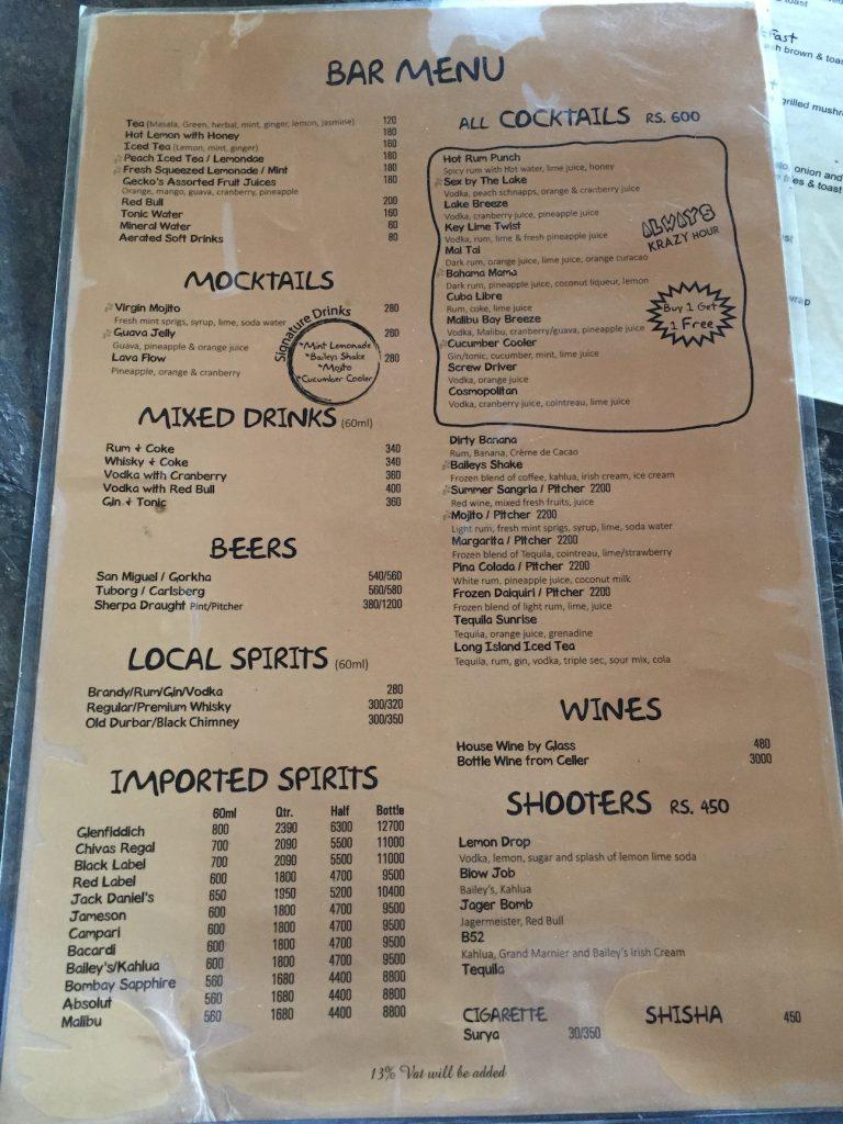 krazy gecko bar menu