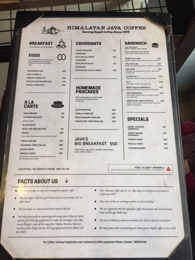 food menu himalayan java pokhara