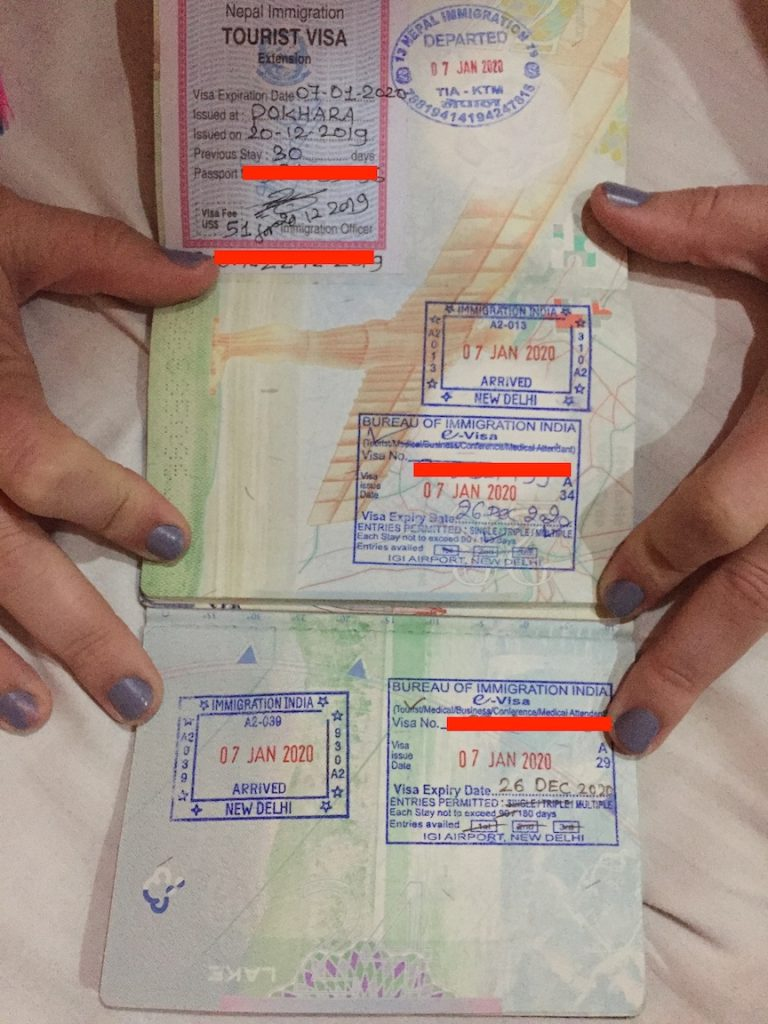 indian one year e-visa stamp in passport page