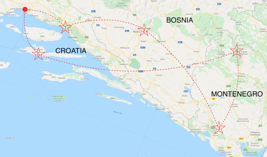 map of 2 week itinerary european road trip