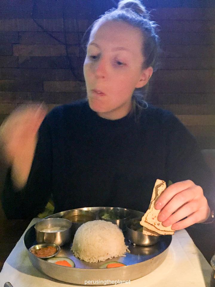 eating dal bhat nepal