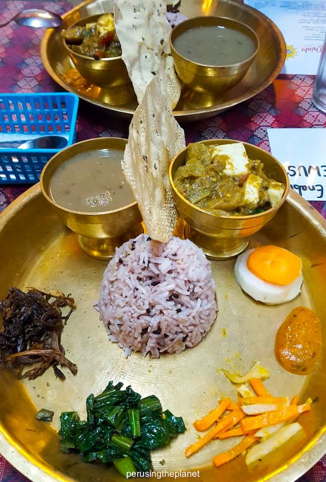 dal bhat thali set nepal food