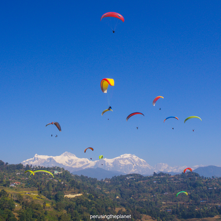 paragliders over pokhara
