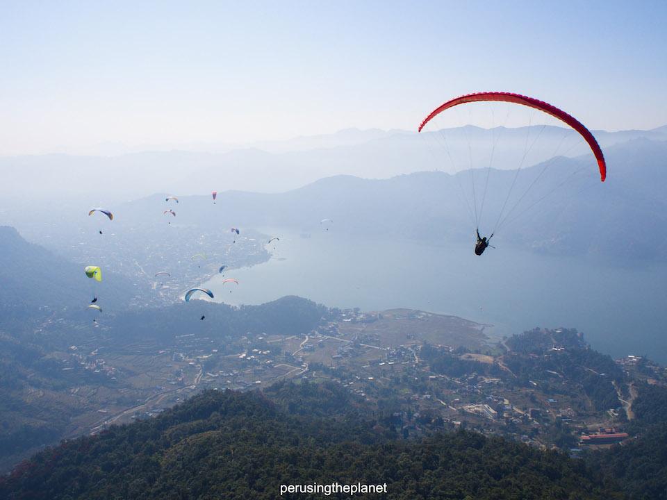 pokhara lake fewa paragliding