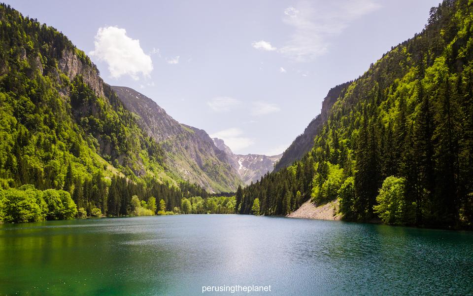 drone shot of lake in montenegro road trip