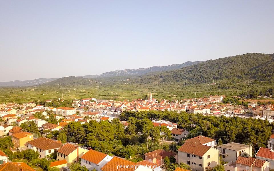 drone shot of hvar stari grad croatia road trip