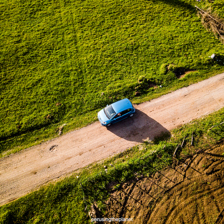 vw up from the sky on road trip in europe
