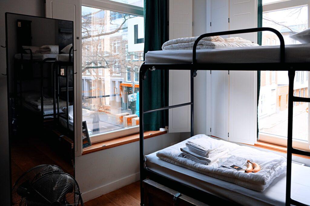 bunk beds in hostel