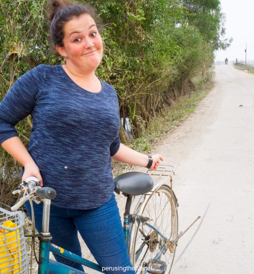 danielle skids on bike in vietnam