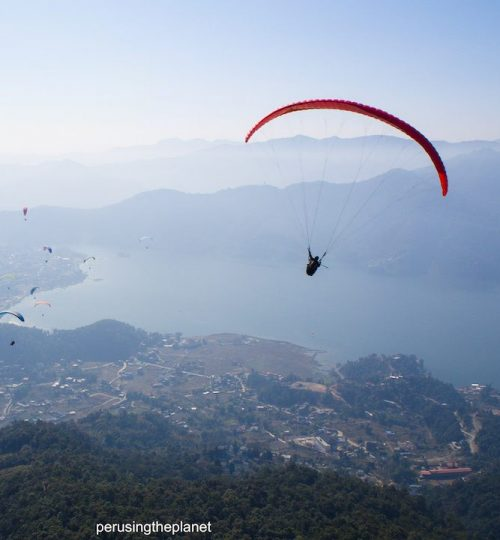 phewa lake from paraglider